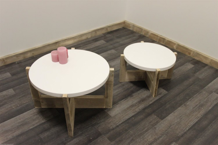 Ronde Tafel Steigerhout : Steigerhouten salontafel op maat gemaakt