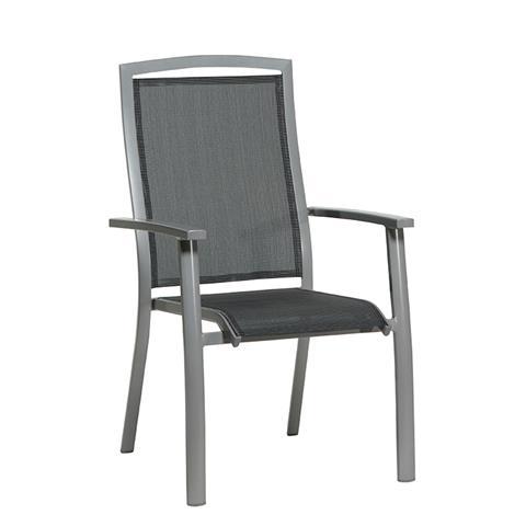 Tuinstoel saphir stapelbare stoel carbon grey antraciet for Stapelbare tuinstoelen
