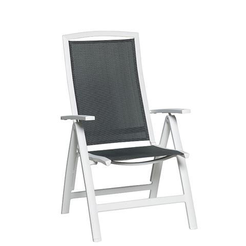 Tuinstoel saphir verstelbare stoel mat wit antraciet for Witte tuinstoel